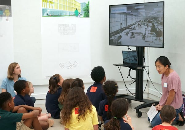 Kayla Bien teaches Poe Elementary students at the Rice School of Architecture.