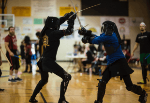 Fencers and fighters will be coming to campus March 22 for a demonstration of historic European martial arts. (Photos courtesy of Erin Baezner)