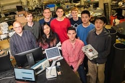 A team of Rice University students have developed an inexpensive flood monitoring system that can be deployed around a city to help first responders anticipate trouble spots during extreme weather. Members are, from left, adviser Gary Woods and students Justin Bryant, Alexandra Du, Alfonso Morera, Neil Seoni, Alexander Kaplan, Nicholas Lester, Jerry Lin and Kevin Wu. (Credit: Jeff Fitlow/Rice University)