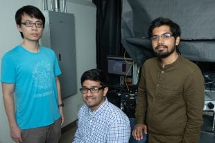 Rice University's MOANA team includes (from left) Yongyi Zhao, Ankit Raghuram and Akshat Dave