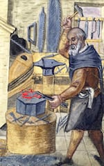Rice University researchers were inspired by the ancient work of blacksmiths as they refined their computational models of how proteins fold. The models are intended to help structural biologists who design drugs and other therapies. (Credit: Rice University/Wikipedia)