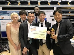 Drill Team Six, from left, won the top prize in the Brown School of Engineering Design Showcase for its invention of a device to help doctors secure rods that keep fractured bones in alignment as they heal. From left, Hannah Jackson, Takanori Iida, Will Yarinsky, Babs Ogunbanwo, Ian Frankel and Byung-UK Kang. (Credit: Rice University)