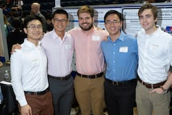 Rice University students calling themselves Team EpiWear prototyped a wearable epinephrine delivery device for people at risk of serious allergic reactions. From left: Alex Li, Justin Tang, Jacob Mattia, Albert Han and Callum Parks. (Credit: Jeff Fitlow/Rice University)