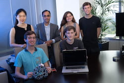 Members of the Axon Mobile team at Rice University developing a system to allow patients with intractable epilepsy to be monitored wirelessly. From left: front, Andres Gomez and Aidan Curtis; rear, Irene Zhang, Dr. Nitin Tandon, Sophia D'Amico and Benjamin Klimko. (Credit: Jeff Fitlow/Rice University)