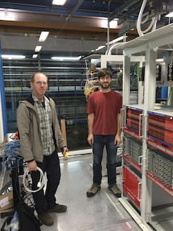 Rice University physicist Christopher Tunnell, right, with co-worker Daniel Coderre of the University of Freiburg, Germany, at the XENON1T experiment beneath a mountain in Italy. The collaboration discovered that xenon 124 has the longest half-life ever measured in a material. The element's half-life is many orders of magnitude greater than the current age of the universe. (Credit: Courtesy of Christopher Tunnell/Rice University)