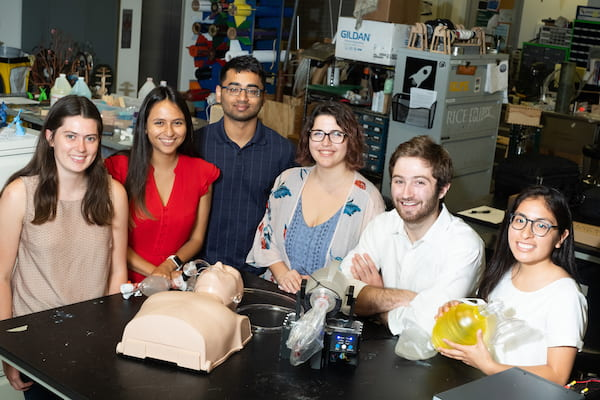 Rice University engineering students developed a bag valve mask compressor to automate the difficult task of feeding fresh air to patients' lungs, often for hours at a time. From left: Madison Nasteff, Carolina De Santiago, Aravind Sundaramraj, Natalie Dickman, Tim Nonet and Karen Vasquez Ruiz. (Credit: Jeff Fitlow/Rice University)