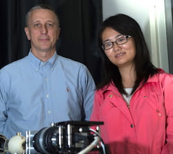 Researchers Tomasz Tkaczyk and Ye Wang, who earned her doctorate this year at Rice University, led the development of a portable spectrometer able to capture far more data much quicker than other fiber-based systems. The TuLIPSS camera will be useful for quick analysis of environmental and biological data. (Credit: Jeff Fitlow/Rice University)