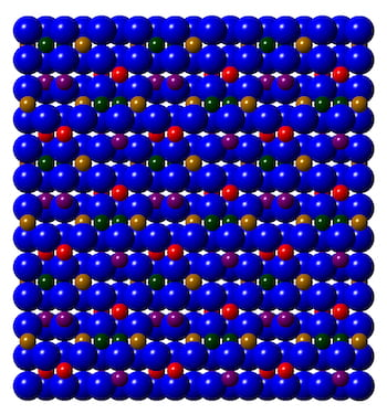 An illustration shows the structure of epsilon-iron(III) oxide, an atomically thin material that is stable, stackable and unlike other iron oxides retains its unique magnetic properties at room temperature. Rice University engineers made the material with a simple method that allows it to be easily transferred and combined with other 2D materials. (Credit: Jiangtan Yuan/Rice University)