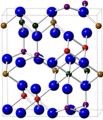 Epsilon-iron(III) oxide incorporates oxygen atoms (blue) and iron atoms (everything else) into a crystal lattice with magnetic properties that, unlike other iron oxides, remain stable at room temperature. This makes the nearly 2D material a good candidate for combining with other atom-thick materials for novel electronic and spintronic applications. (Credit: Jiangtan Yuan/Rice University)