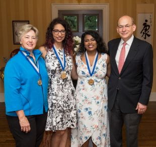 From left: Annise Parker, Sonia Torres, Navya Kumar and Rice President David Leebron. Photo by Tommy LaVergne.