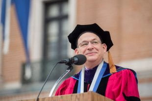 Rice President David Leebron addresses graduates. Photo by Tommy LaVergne.