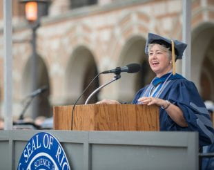 Annise Parker '78 addresses graduates at the 2019 Commencement. Photo by Tommy LaVergne.