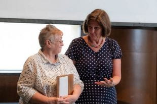 Fondren Library's head of acquisitions Janice Lindquist, left, was presented with the 2019 Shapiro Award by Vice Provost and University Librarian Sara Lowman. (Photos by Jeff Fitlow)