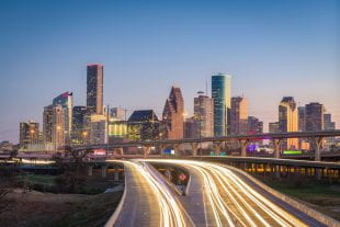 Houston, Texas, USA downtown city skyline and highway. Photo credit: 123rf.com