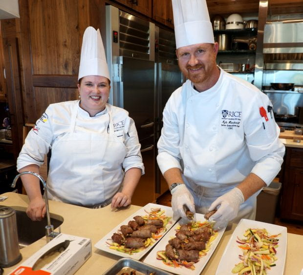 When they aren't busy feeding students in Sid Richardson or the Seibel Servery, Rice University chefs Kyle Hardwick and Sarah Finster occasionally take their culinary skills on the road.