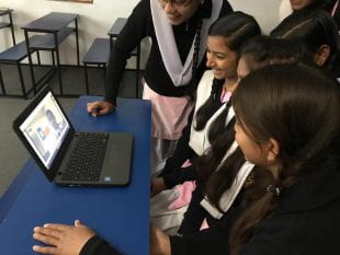 Students in a New Delhi high school video chatted with Rice students throughout the semester in Divya Chaudhry's first-year Hindi course.