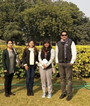 Chaudhry (second from right) met up with Yuva Unstoppable team members Taranjeet Kaur, Ruhbani Singh and Rishi Singh when she visited Delhi.