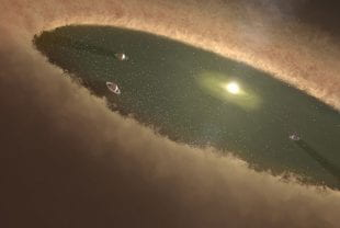 Artist's concept of young planetary system with gas giant planets and a remnant protoplanetary disk