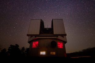 Night view of Lowell Observatory's 4.3-meter Discovery Channel Telescope