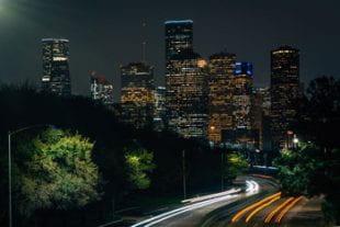 The Houston skyline at night