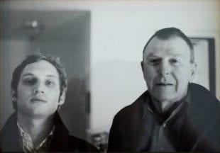 Otremba with poet Thom Gunn in Washington, D.C., 2003. (Photo by Josh Mensch)