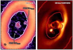 Side by side images highlight the circumplanetary disk around exoplanet PDS 70 c