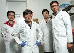 Rice University researchers, from left, Xinwei Li, Junichiro Kono, Weilu Gao and Gururaj Naik. (Credit: Jeff Fitlow/Rice University)