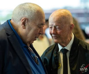 George Abbey, left, with Chester Vaughan, a veteran Apollo engineer and former chief engineer of the International Space Station, at Rice on May 20. Photo by Jeff Fitlow