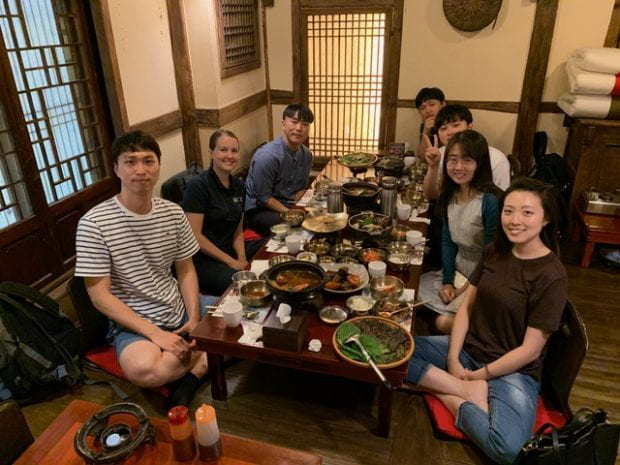 Jennifer Hunter, admissions and visibility strategy manager in the Office of Graduate and Postdoctoral Studies, joined incoming Rice graduate students Sangwon Seo, Jung Kim, Byoung Yong Yoo, Dongjoo Lee, Dayong Lee and Jennifer Lee for a meal of bulgogi and jjamppong July 16 in the Mapo District of Seoul, South Korea.