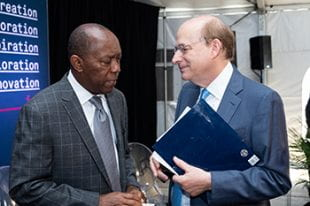 Mayor Sylvester Turner and President David Leebron spoke at the July 19 event.