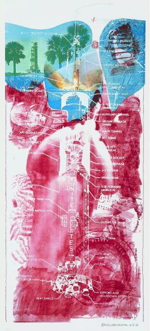 "Robert Rauschenberg (1925 - 2008) Sky Garden, 1969. 6-color lithograph/screenprint on Arjomari paper 89 x 42"" (226.1 x 106.7 cm). Edition of 35 plus 6 APs"