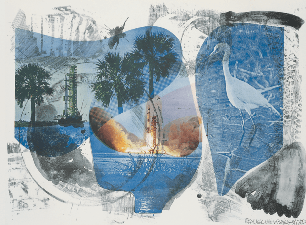Robert Rauschenberg, Local Means (Stoned Moon), 1970, Lithograph, 32 3/8 x 43 1/4 inches (82.2 x 110 cm) From an edition of 11, published by Gemini G.E.L., Los Angeles © Robert Rauschenberg Foundation and Gemini G.E.L.