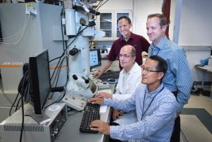 Brookhaven National Laboratory scientists Myung-Geun Han, Ivan Boz̆ović, Yimei Zhu and Anthony Bollinger.