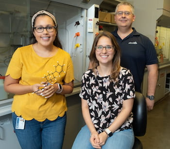 From left, Rice University graduate students Kaitlyn Lovato and Nicole Behnke and chemist László Kürti. The trio led a project to synthesize azetidines, precursors that make it easier for drug designers to access nitrogen atoms that are key to building new compounds. (Credit: Jeff Fitlow/Rice University)