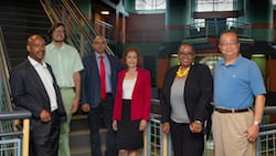 Rice University, Texas Southern University and the University of Houston have won a National Science Foundation grant to help underrepresented minorities pursuing academic careers in engineering and science. The principal investigators are, from left: Reginald DesRoches and Canek Phillips of Rice, Pradeep Sharma and Hanadi Rifai of the University of Houston, Yvette Pearson of Rice and Wei Wayne Li of Texas Southern University. (Credit: Jeff Fitlow/Rice University)