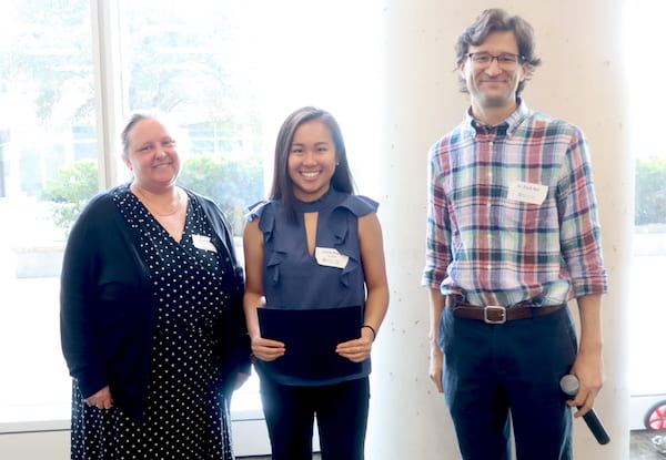 From left, Jane Grande-Allen, the Isabel C. Cameron Professor of Bioengineering and chair of the Rice bioengineering department; Lucia Zhang, whose poster won the American Heart Association Summer Cardiovascular Research Internship Program prize, and Zachary Ball, a professor of chemistry and faculty director of the Institute of Biosciences and Bioengineering.