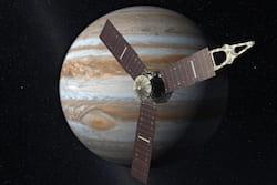 An artist's concept of the Juno spacecraft in orbit around Jupiter. (Image courtesy of NASA)