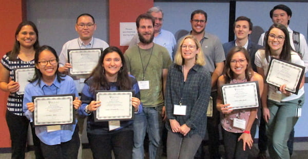 Awards were given to students with the best presentation at the 2019 Smalley-Curl Institute Summer Research Colloquium. From left: back, Pratiksha Dongare, Yilin Li, SCI Executive Director Alberto Pimpinelli, Nicholas Moringo, Danyel Eduardo Cavazos and Takuma Makihara; and front, Sohee Park, Sueda Cetinkaya, Douglas Walker, chemical and biomolecular engineering Assistant Professor Amanda Marciel, Tania Lopez Silva and Sarah Hahn Hulgan. Photo courtesy of the Smalley-Curl Institute