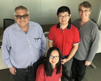 Researchers from Rice University, the University of Houston and the University of Texas Health Science Center at Houston suggested through simulations and experiments that CaMKII is a key protein in the encoding of memory in neurons. From left: Peter Wolynes, Margaret Cheung, Qian Wang and Neal Waxham. (Credit: Rice University)