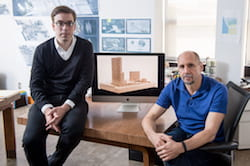 Research on mass timber construction by Jesús Vassallo, left, Rice's Gus Wortham Assistant Professor of Architecture, and Albert Pope, the Gus Wortham Professor of Architecture, encouraged Rice University to consider the technique in planning to update Hanszen College. The university won a U.S. Forest Service grant to facilitate planning and approval of the proposed structure. (Credit: Jeff Fitlow/Rice University)