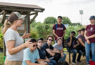 Urban Immersion introduces incoming students to Houston's social issues through the community partners who address them, such as Plant It Forward Farms. (Photos by Tomy LaVergne)