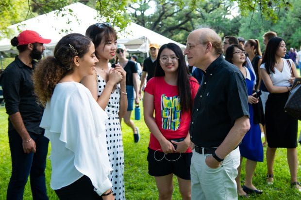 Incoming graduate students were welcomed by President David Leebron and University Representative Y. Ping Sun with a big Texas barbecue at their home Aug. 22.
