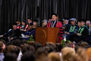 """We are thrilled and grateful you are here,"" President David Leebron told the nearly 1,000 new students. (Photo by Jeff Fitlow)"