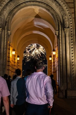 Fireworks erupted as each residential college entered the Academic Quad through the Sallyport. (Photo by Jeff Fitlow)