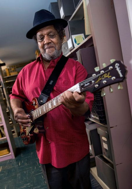 Little Joe Bell arrived at the Woodson Research Center inside Fondren Library Aug. 22 with guitar in tow to provide an oral history of Houston's blues scene to Norie Guthrie, an archivist and special collections librarian who manages the Houston Blues Museum archives.