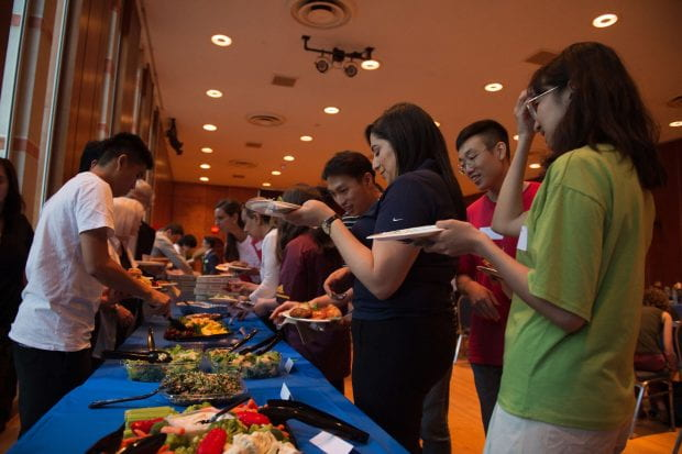 Students from countries across the world made new friends and connections Sept. 24 at the annual meet-and-greet potluck dinner for the International Friends at Rice (IFR) program.