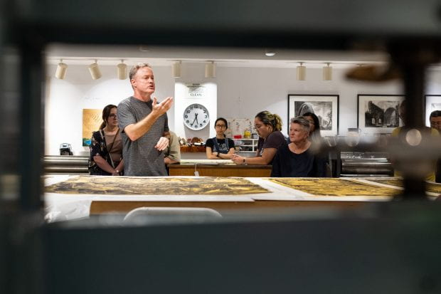 Karin Broker, professor of printmaking and drawing in the Department of Visual and Dramatic Arts (VADA), hosted master printer Patrick Masterson Sept. 25 for an intimate roundtable talk at Rice's Printpalace in Sewall Hall.