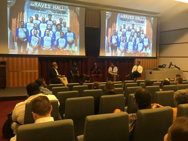 Students from Rice's Black Male Leadership Initiative convened in Herring Hall Sept. 9 to reflect on their five-day cultural excursion to Atlanta, sponsored by the Dean of Undergraduates and the Boniuk Institute for Religious Tolerance.