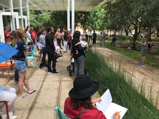 Rice community members curious to learn more about the sound installation that's been chirping and chattering outside the Brochstein Pavilion since April came out Sept. 21 to hear Nina Katchadourian speak about her work during a Rice Public Art-hosted reception.