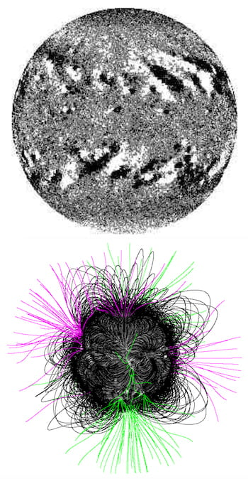 "A stellar flux transport simulation, top, shows positive (white) and negative (black) magnetic polarity on the surface of a star. At bottom, associated coronal magnetic field lines show outward (magenta) and inward (green) lines that extend into interplanetary space, forming the magnetic field of the inner asterosphere, while those in black represent closed lines with ends rooted in the stellar photosphere. Researchers at Rice University used the models to help determine that some exoplanets may not be habitable despite having orbits in the so-called ""Goldilocks"" zones around their stars. (Credit: Alexander Group/Rice University)"